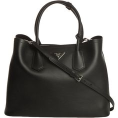 Prada City Calf Shopping Bag (13,150 SVC) ❤ liked on Polyvore featuring bags, handbags, shoulder bags, shopper purses, black shoulder bag, pouch purse, black purse and black handbags