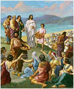 Jesus breaks bread and passes it out to the multitude.Matthew 14:13-21     Mark 6:30-44     Luke 9:10-17     John 6:1-14