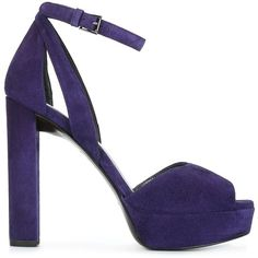 Stuart Weitzman platform sandals (16810 TWD) ❤ liked on Polyvore featuring shoes, sandals, purple, leather sandals, leather platform shoes, leather footwear, platform sandals and leather shoes