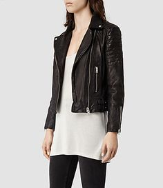 Womens Papin Leather Biker Jacket (Black) - product_image_alt_text_2