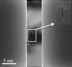 An electron microscope image shows a pre-crack in a suspended sheet of #graphene used to measure the overall strength of the sheet in a test at Rice University.