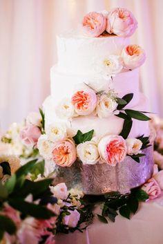 White & floral Wedding Cake
