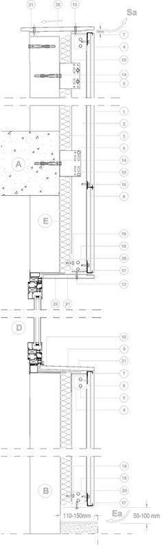 Technical details for flexible Facades system Vanguard - Ventilated Facade Vanguard Horizontal system   ULMA