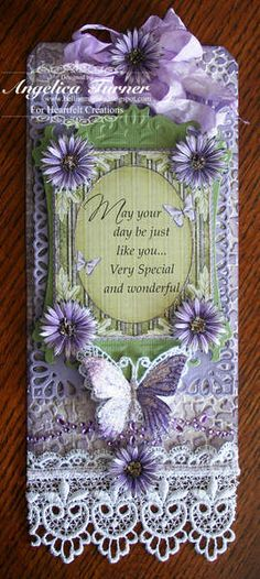 handmade tag: Asters Tag {Heartfelt Creations} ... collage tag in lavender, pale green and white ... real lace ... lines of jewels ... artificial asters ... seam binding bow ... feminine Vintage look ... luv it!!
