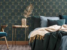 Go back to the swinging thanks to from our Art Déco products! Created by Papermint, new wall decoration brand from Paris. Space Wallpaper, Art Deco Wallpaper, Art Deco Bedroom, Bedroom Decor, Bedroom Ideas, Interiores Art Deco, Dark Green Rooms, Estilo Art Deco, Bedroom Green