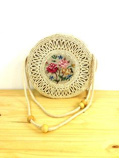 Vintage Woven Straw Purse / Round Cross Body Bag by VintageEdition