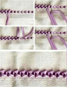 """OP says, """"ricamo con nastro"""". Just the series of photos, but a lovely ribbon embroidery border. OP says, ricamo con nastro. Just the series of photos, but a lovely ribbon embroidery border. Embroidery Designs, Ribbon Embroidery Tutorial, Hand Embroidery Stitches, Silk Ribbon Embroidery, Embroidery Techniques, Sewing Techniques, Cross Stitch Embroidery, Embroidery Supplies, Embroidery Kits"""