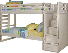 Creekside Stone Wash Twin Twin Step Bunk Bed . $699.99. 102L x 42W x 68H. Find affordable Bunk/Loft Beds for your home that will complement the rest of your furniture. #iSofa #roomstogo