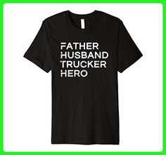 Mens Father Husband Trucker Hero - Inspirational Father T-Shirt Large Black - Relatives and family shirts (*Amazon Partner-Link)