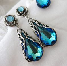 Blue Earrings Victorian Wedding Jewelry by InStyleBoutique on Etsy