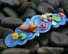 Koi Pond French Barrette in Polymer Clay Filigree   I so have to learn how to do filigree work in poly clay.
