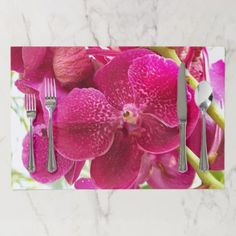 oechidpaper square mat beautiful bloom flower paper placemat - paper gifts presents gift idea customize