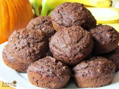 Whole Wheat Chocolate Pumpkin Banana Muffins. Feel good about feeding this healthy breakfast to your family. Double the batch and freeze lots for the future too!