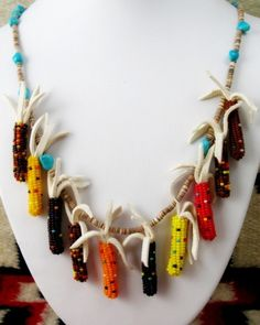 Beaded Indian Corn Fetish Necklace