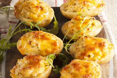 Three-cheese potatoes • This dish of potatoes stuffed with cheese has a spicy bite in the middle and is a great starter or side dish.