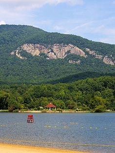 Our beautiful public beach in Lake Lure, NC  Now THIS is my kind of lake!  Beautiful with a view!