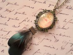 Dark green feathers necklace  Cameo necklace  olive by PRINTZESA, €20.00