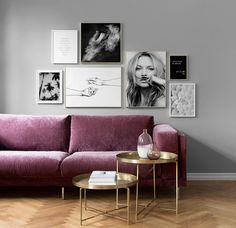 Scandinavian inspired living room | wall gallery with Desenio prints | round brass coffee tables | Purple pink velvet sofa | IKEA Nockeby sofa with a Bemz cover in Clover Zaragoza Vintage Velvet