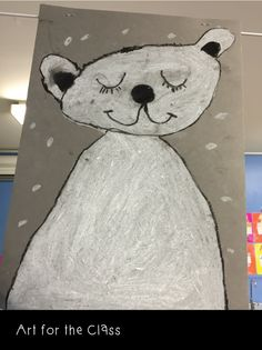 We did some polar bear artworks in our final weeks of school. Supplies were very low, but we had some coloured art paper and lots of whit. Weather Kindergarten, Kindergarten Crafts, Winter Art Projects, Winter Crafts For Kids, Primary School Art, Elementary Art, Classroom Art Projects, Art Classroom, Arctic Explorers