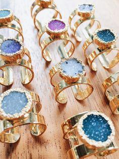 Hiwahiwa ring - large gold druzy ring, gold ring by kealohajewelry