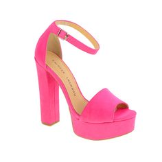 On Wednesdays we wear pink. Pink suede platform sandals by #chineselaundry give the look of legs for days! #10yearsofmeangirls