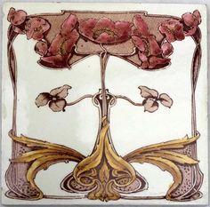 Stunning Original Floral Art Nouveau Tile By Maker Marsden  #MARSDEN