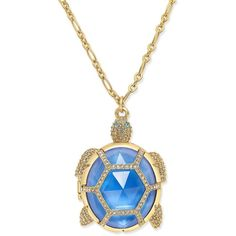 kate spade new york Gold-Tone Glass Stone Turtle Locket Pendant... ($148) ❤ liked on Polyvore featuring jewelry, necklaces, gold, kate spade necklace, locket pendant necklace, turtle necklace, turtle jewelry and charm pendant necklace