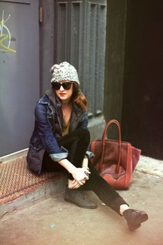 New York City Fashion and Personal Style Blog: Knit beanie, puffer vest, denim jacket, velvet pants, lace-up booties