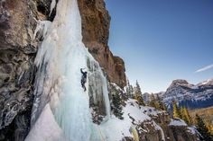 Climbing ice in Hyalite canyon near Bozeman MT. Photograph by David Wells