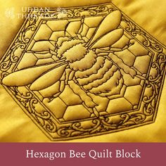 A buzzing hexagon quilt design is just what you need to bring a modern touch to a traditional craft. Stitch through fabric, batting, and back to create stunning texture and dimension. Project instructions demonstrate this technique. Quilting Designs, Embroidery Designs, Quilt Design, Cross Stitch Embroidery, Machine Embroidery, Hanging Quilts, Quilt Of Valor, Hexagon Quilt, Bees Knees