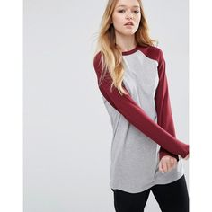 ASOS Longline T-Shirt With Contrast Sleeve (490 MXN) ❤ liked on Polyvore featuring tops, t-shirts, grey, longline t shirt, jersey tee, cotton jersey, crewneck tee and cotton t shirts