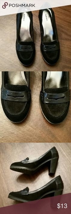 "Adorable Black Suede Shoes, Leather Upper Leather Upper, Remainder Manmade, 3"" Heals w/1"" Base, Size 6M, EUC Style & Co Shoes Heels"
