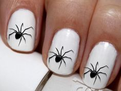 20 pc Halloween Spider Spooky Spider Happy Halloween Nail Art Nail Decals #cg303na