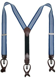 $45, Navy and White Vertical Striped Suspenders: Tommy Hilfiger Ribbon Striped Suspenders. Sold by Amazon.com. Click for more info: http://lookastic.com/men/shop_items/13135/redirect