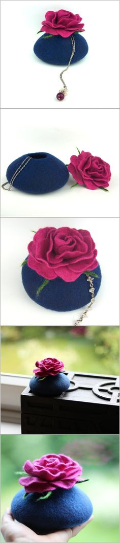 Jewelry box dark blue storage decor rose blossom pink felted felt vessel treasure can secret box gift-for-her gift girlfriend gift-for-mom