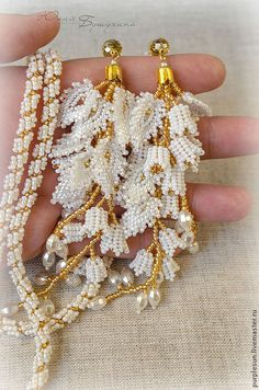 """Lariat """"Frozen thoughts of spring. - Lariat """"Frozen thoughts of spring. Seed Bead Necklace, Seed Bead Jewelry, Bead Earrings, Beaded Jewelry, Handmade Jewelry, Beaded Bracelets, Earrings Handmade, Jewellery, Seed Beads"""