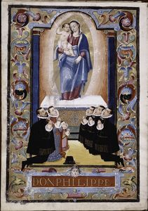 "Image Title :  Opening rubric, full-page miniature showing Spanish royal family and Madonna and Child, with border and caption ""Don Philippe.'  Item/Page/Plate : f. 1v  Source : Carta ejecutoria.  Source Description : ff. i, 1-53v : 301 x 214 mm.  Location : Stephen A. Schwarzman Building / Spencer Collection  Catalog Call Number : Spencer Collection Ms. 163  Digital ID : 434305  Record ID : 252641  Digital Item Published : 3-14-2008; updated 3-25-2011 New York Public Library Digital Gallery"