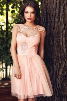 LUCLUC Short Salmon Lace Tulle Dress