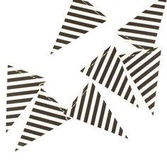 Black & White Stripes Pennant Banner
