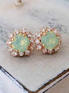 Rose gold mint opal crystal stud earrings by EldorTinaJewelry| bridesmaids gift | bridal earrings | mint wedding | rose gold wedding | by EldorTinaJewelry | www.etsy.com/...