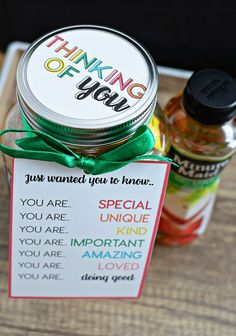 Mason Jar Gift Idea - the perfect thing to give to someone who is doing a good job. From Rainbow Mason Jar Gift Idea - the perfect thing to give to someone who is doing a good job. Mason Jars, Mason Jar Gifts, Teacher Appreciation Gifts, Teacher Gifts, Homemade Gifts, Diy Gifts, Food Gifts, Birthday Cake For Women Simple, Cheer Up Gifts