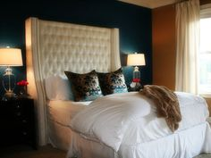 Love the peacock blue with the white, not so much the two different wall colors @Emili McPhail