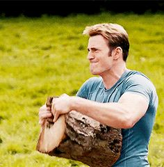 Steve ripping a log in half with his bare hands in Age of Ultron