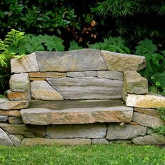 Stone Bench With Back. Garden.