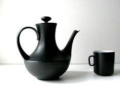 Vintage Mid Century Block China Black & White Mini Coffee-Teapot from Spain. $54.00, via Etsy.