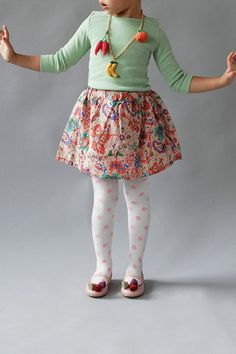 toddler outfit, kids fashion, mint, mixed prints, fruit necklace, printed tights