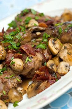 Coq Au Vin - Julia Child recipe. We cook this at least once a month. We use turkey bacon which is a pretty good substitute.