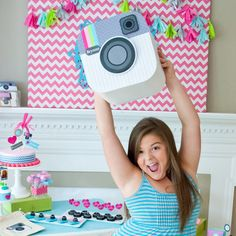 Insta Party Teen Tween Birthday Party Customized Camera Face IDEA...to make pinata..print and make one with a box... Craft Party, Diy Party, Party Ideas, Party Favors, Birthday Bash, Birthday Parties, 13th Birthday, Birthday Ideas, Teen Girl Parties