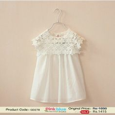 Classy Designer White Princess Summer Dress with Crochet Neck and Sleeves ( 2-5 Years )