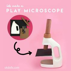 Feb 2020 - Recycle a plastic bottle to make your own pretend play microscope with these easy steps. Let them role play being a scientist with their very own microscope Kid Science, Science Projects For Kids, Science Activities, Activities For Kids, Diy For Kids, Crafts For Kids, Toy Craft, Pretend Play, Role Play
